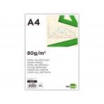 Liderpapel ML97 - Papel milimetrado, A4, 80 gramos, bloc de 50 hojas