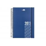Liderpapel Olbia - Agenda anual, tamaño 15 x 21 cm, impresión día página, tapa polipropileno metalizado, encuadernada con espiral, color azul