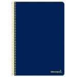 Liderpapel Smart BF94 - Bloc espiral, tamaño folio, tapa blanda, 80 hojas de 60 gr, cuadrícula de 4 mm, con margen, color azul marino