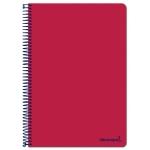Liderpapel Smart BF96 - Bloc espiral, tamaño folio, tapa blanda, 80 hojas de 60 gr, cuadrícula de 4 mm, con margen, color rojo