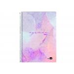 Liderpapel Syros - Agenda anual, tamaño 15 x 21 cm, impresión día página, tapa rígida, encuadernada con espiral, color morado
