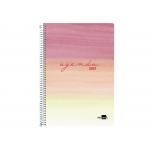 Liderpapel Syros - Agenda anual, tamaño 15 x 21 cm, impresión día página, tapa rígida, encuadernada con espiral, color rojo