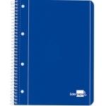 Liderpapel Tapa azul BE05- Bloc espiral, tamaño A4, tapa blanda, 80 hojas de 75 gr, rayado horizontal de 7 mm, con doble margen, microperforado, 4 taladros, color azul