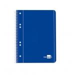Liderpapel Tapa azul BJ05 - Bloc espiral, tamaño A5, tapa blanda, 80 hojas de 75 gr, liso, con doble margen, microperforado, 6 taladros, color azul