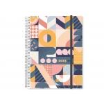 Liderpapel Tinos - Agenda anual, tamaño A4, impresión día página, tapa polipropileno personalizable, encuadernada con espiral, cierre con goma