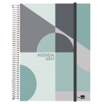 Liderpapel Tinos - Agenda anual, tamaño A6, impresión semana vista, tapa polipropileno personalizable, encuadernada con espiral, cierre con goma