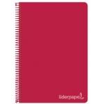 Liderpapel Witty BC24 - Bloc espiral, tamaño cuarto, tapa dura, 80 hojas de 75 gr, cuadrícula de 4 mm, con margen, color rojo