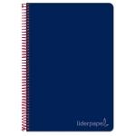 Liderpapel Witty BC82 - Bloc espiral, tamaño cuarto, tapa dura, 80 hojas de 75 gr, cuadrícula de 4 mm, con margen, color azul marino
