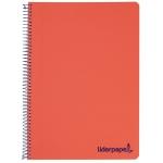 Liderpapel Wonder BJ70 - Bloc espiral, tamaño A5, tapa de plástico, 120 hojas de 90 gr, cuadrícula de 5 mm, sin margen, microperforado, 6 taladros, color rojo