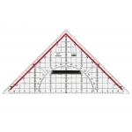 Mor - Escuadra de geometría, plástico, hipotenusa de 25 cm, transparente