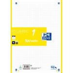 Oxford 400106621 - Recambio para carpeta de anillas, tamaño A4, 100 hojas de 90 gr, 4 taladros, cuadrícula de 5 mm, amarillo