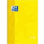 Oxford European Book 1 - Bloc espiral, tamaño A4, tapa dura, 80 hojas de 90 gr, cuadrícula de 5 mm, sin margen, microperforado, 4 taladros, color amarillo