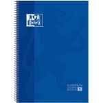 Oxford European Book 1 - Bloc espiral, tamaño A4, tapa dura, 80 hojas de 90 gr, cuadrícula de 5 mm, sin margen, microperforado, 4 taladros, color azul
