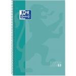 Oxford European Book 1 - Bloc espiral, tamaño A4, tapa dura, 80 hojas de 90 gr, cuadrícula de 5 mm, sin margen, microperforado, 4 taladros, color menta