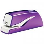 Petrus E-310 Wow - Grapadora eléctrica, 10 hojas de capacidad, usa grapas Nº 10, color violeta metalizado