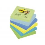 Post-it 654-MTDR - Bloc de notas adhesivas, 76 x 76 mm, colores ultra intenso (amarillo, azul, celeste, turquesa, verde y verde neón), pack de 6 blocs de 100 hojas