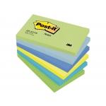 Post-it 655-MTDR - Bloc de notas adhesivas, 76 x 127 mm, colores ultra intenso (amarillo, azul, celeste, turquesa, verde y verde neón), pack de 6 blocs de 100 hojas