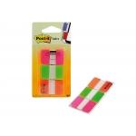 Post-it 686-pgo - Banderitas separadoras rigidas, pack de 3 con 22 hojas, colores naranja, rosa y verde