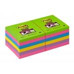 Post-it Super Sticky 654-12SSUC - Bloc de notas adhesivas, 76 x 76 mm, colores (amarillo, azul mediterráneo, fucsia, morado y verde neón), pack de 12 blocs de 90 hojas
