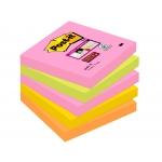 Post-it Super Sticky 654S-N - Bloc de notas adhesivas, 76 x 76 mm, colores Cape Town (amarillo, naranja, rosa y verde neón), pack de 5 blocs de 90 hojas