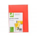 Q-Connect KF00499 - Tapa de encuadernación, símil-piel, color rojo, A4, cartón de 250 gramos, paquete de 100