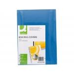 Q-Connect KF00500 - Tapa de encuadernación, símil-piel, color azul, A4, cartón de 250 gramos, paquete de 100