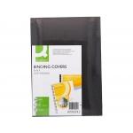 Q-Connect KF00501 - Tapa de encuadernación, símil-piel, color negro, A4, cartón de 250 gramos, paquete de 100