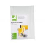 Q-Connect KF00502 - Tapa de encuadernación, símil-piel, color blanco, A4, cartón de 250 gramos, paquete de 100