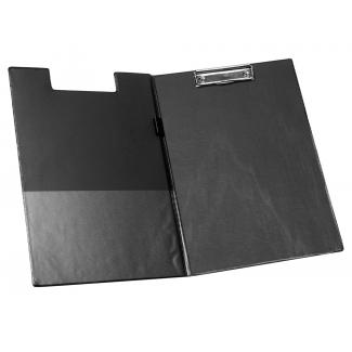 Q-Connect KF01300 - Carpeta portanotas con pinza, plástico, tamaño A4, color negro