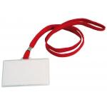Q-Connect KF03303 - Identificador con cordón rojo plano, apertura lateral, 60 mm x 94 mm