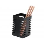 Q-Connect KF11221 - Cubilete portalápices cuadrado, metálico, color negro