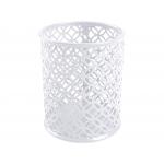 Q-Connect KF11222 - Cubilete portalápices redondo, metálico, color blanco