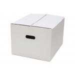 Q-Connect KF14096 - Caja para embalar con asa, medidas 450 x 280 x 375 mm, cartón de 7 mm, color blanco