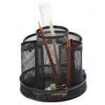 Q-Connect KF17294 - Cubilete organizador de sobremesa, metálico, giratorio, color negro