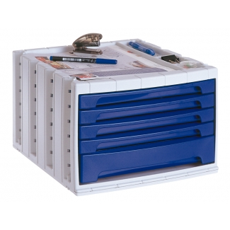 Q-Connect KF18424 - Fichero de sobremesa, bandeja organizadora superior, 5 cajones, color azul opaco