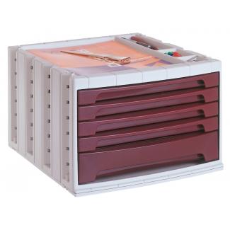 Q-Connect KF18426 - Fichero de sobremesa, bandeja organizadora superior, 5 cajones, color burdeos opaco