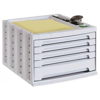 Q-Connect KF18427 - Fichero de sobremesa, bandeja organizadora superior, 5 cajones, color gris opaco