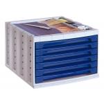 Q-Connect KF18431 - Fichero de sobremesa, bandeja organizadora superior, 6 cajones, color azul opaco