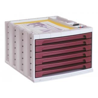 Q-Connect KF18433 - Fichero de sobremesa, bandeja organizadora superior, 6 cajones, color burdeos opaco