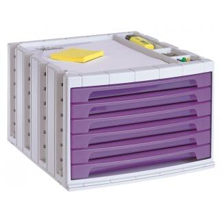 Q-Connect KF18437 - Fichero de sobremesa, bandeja organizadora superior, 6 cajones, color violeta translúcido