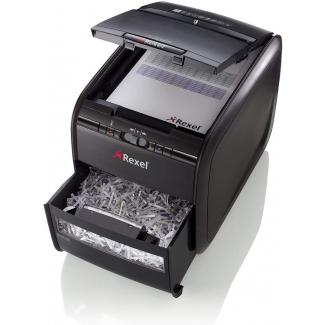 Rexel Auto+ 60X - Destructora de papel, corte en partículas, destruye hasta 5 hojas, con autoalimentación, papelera de 15 litros