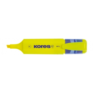 Kores MF3 - Rotulador fluorescente, punta biselada, color amarillo