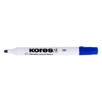Kores PB1 - Rotulador para pizarra blanca, punta redonda de 2 mm, color azul