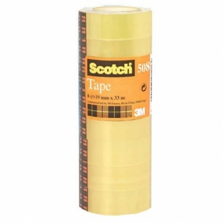 Scotch acordeón 508 - Cinta adhesiva, 19 mm x 33 mt, transparente, pack de 8
