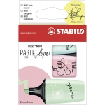 Stabilo Boss Mini 07/03-57 - Rotulador fluorescente, edición Pastel Love, punta biselada, estuche de 3 rotuladores, colores surtidos