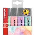 Stabilo Boss Pastel 70/4-2 - Rotulador fluorescente, punta biselada, colores surtidos pastel, estuche de 4 unidades