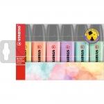Stabilo Boss Pastel 70/6-2 - Rotulador fluorescente, punta biselada, colores surtidos pastel, estuche de 6 unidades