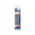 Staedtler Pigment Liner 308 S1WP3 - Rotulador calibrado, pack de 3 (0,2, 0,4 y 0,8) + portaminas, color negro