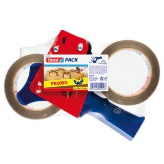 Tesa 57455-00001-00 - Portarrollo de embalaje, con dos rollos de color marrón, para rollos de 50 mm